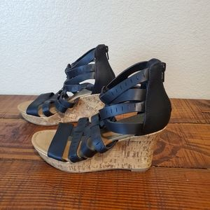 American Eagle Black Strappy Cork Wedge Sandals